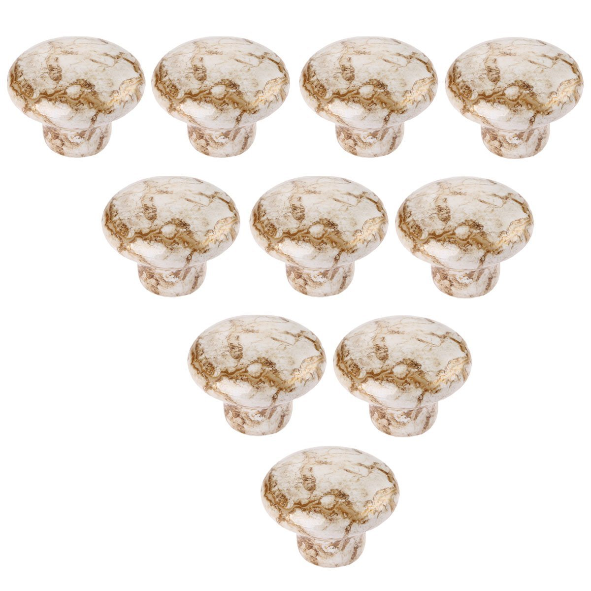 Choubao Antique Furniture Handles Marble Vein Knobs and Handles Ceramic Handles for Kitchen Cupboards Cabinet Door knobs Drawer Pulls - 10pcs