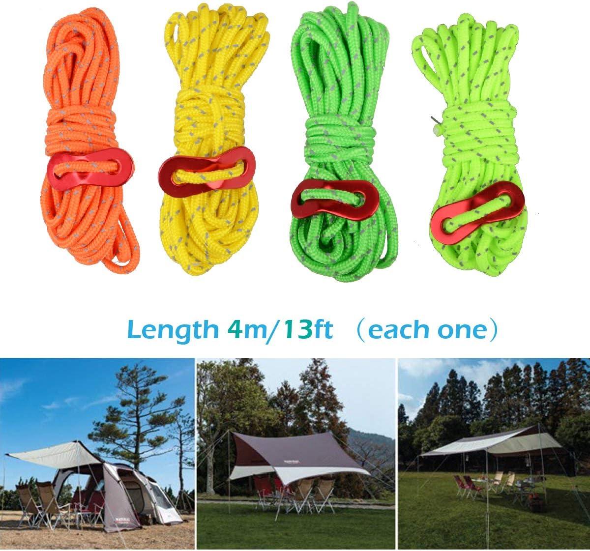 TRIWONDER Corde de Tente R/éfl/échissante 4m*4 Corde en Nylon Ficelle avec Tendeur pour Escalade Camping Tente B/âche Randonn/ée