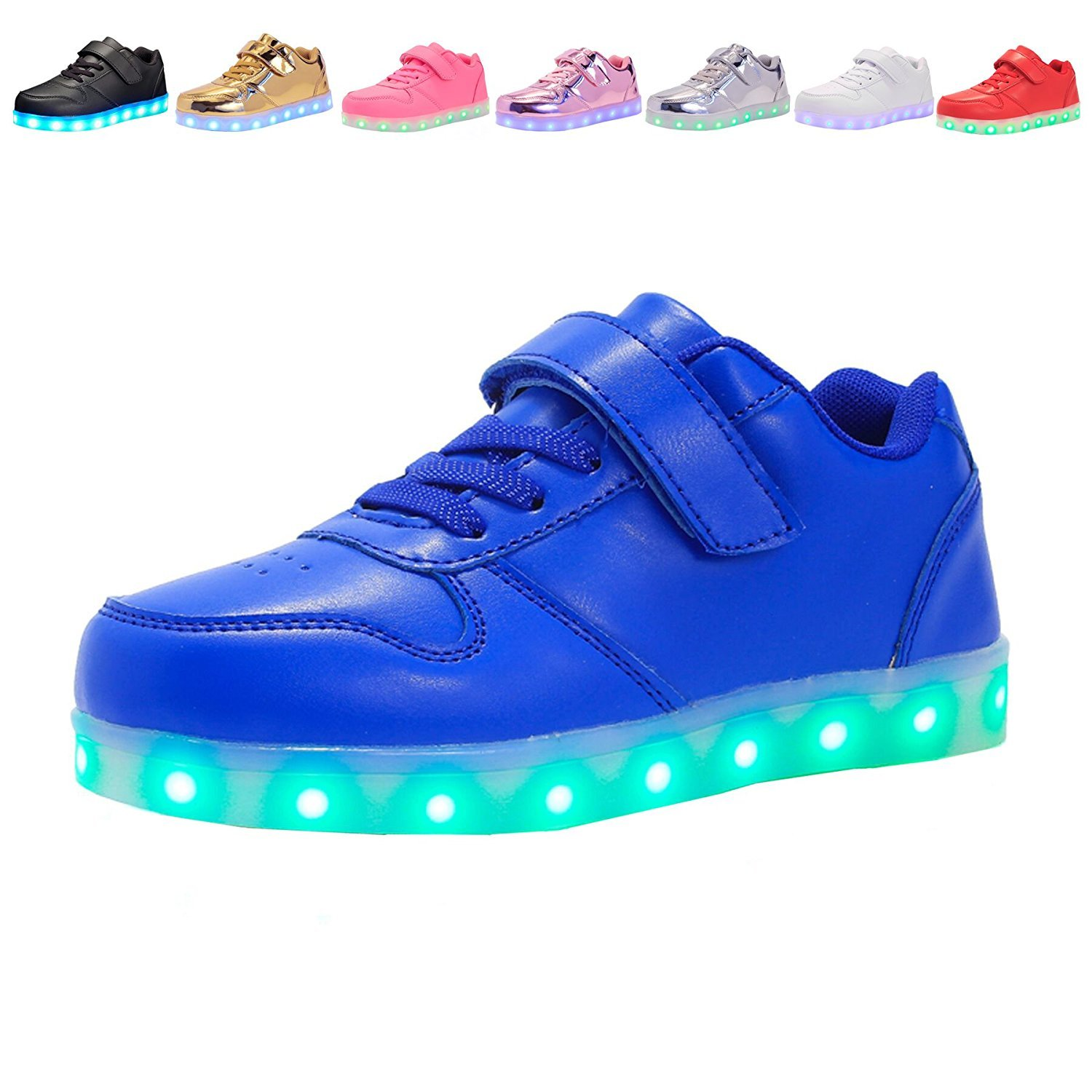 Kids USB Charging Light Up LED Shoes Flashing Sneakers For Boys Girls Walking Shoes Luminous (Blue 13 M US Little Kid)