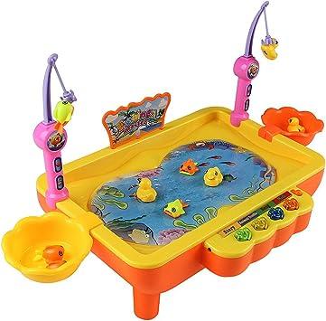 Goolsky Conjunto de Juego de Mesa de Pesca Juego de Piscina con Música Ligera Cañas de Pescar Aprendizaje Eléctrico Juguetes educativos para Niños Niñas Niños Pequeños Niños: Amazon.es: Juguetes y juegos