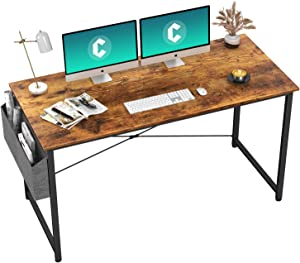 """Cubiker Computer Desk 55"""" Home Office Writing Study Desk, Modern Simple Style Laptop Table with Storage Bag, Rustic"""