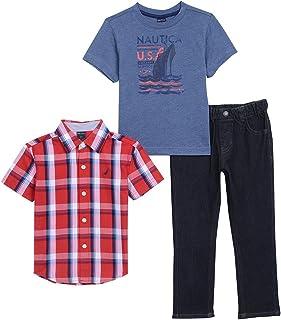 Nautica Boys Short Sleeve Button Up, Tee and Denim Pant Set Clothing Set