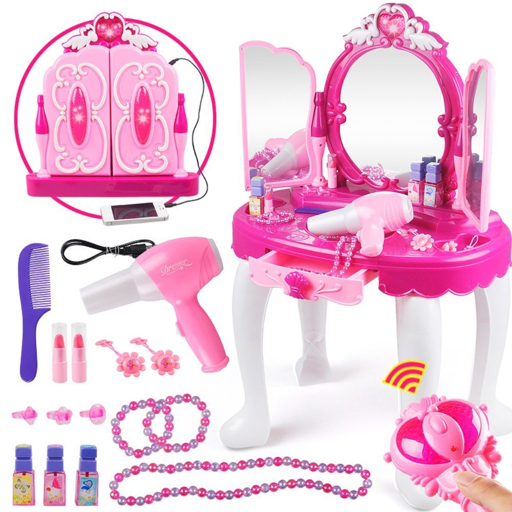 Yosoo Girls Make Up Dressing Table, Kids Pretend Play Toy Beauty Vanity Playset with Stool, Hair Dryer Makeup Accessories Girls Gift