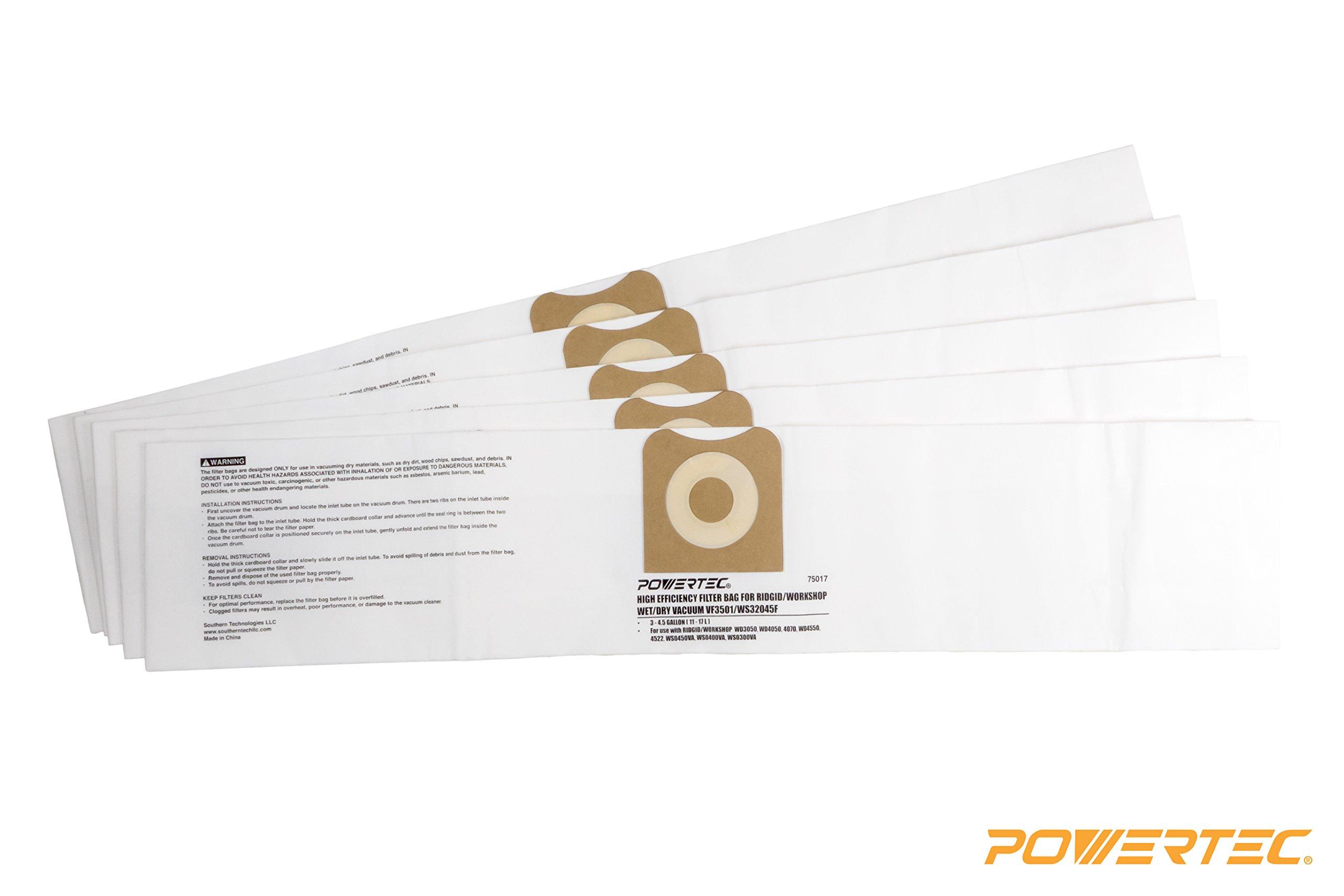 POWERTEC 75017 High Efficiency Filter Bags for Ridgid/Workshop Wet/Dry Vacuum VF3501 / WS32045F (Pack of 5)
