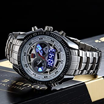 Amazon.com: HWCOO Watches TVG Brand Luxury Stainless Steel Clock Digital Sports LED Watch Men 30M Dual Movements Waterproof Watches: Watches