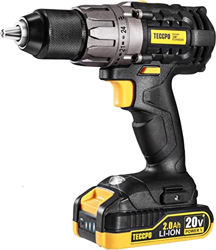 Cordless Drill, 20V Drill Driver 2x2000mAh Batteries, 530 In-lbs Torque, 24 1 Torque Setting, 2-Variable Speed, 33pcs Accessories, 1 2 Metal Keyless Chuck, Fast Charger, Best Choice of Gift