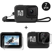 Deyard Kit Accessori per GoPro Hero 8 con Custodia Protettiva in Silicone + 4 Screen Protector in Vetro Temperato Ultra Trasparente + 2 Lenti Display HD Protettive con GoPro Hero 8 Black