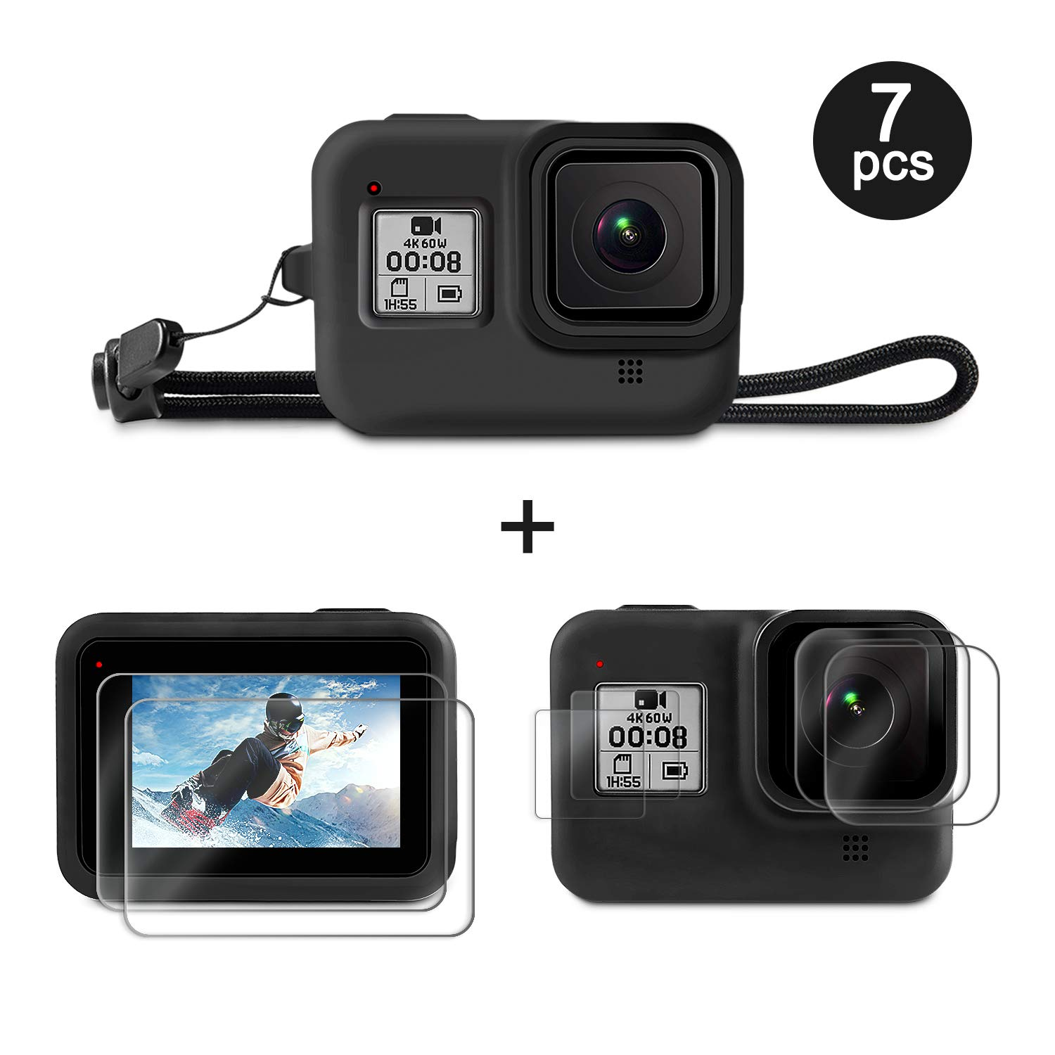 2018 4Pcs Ultrathin Clear Tempered Glass Screen Protector //Hero HD //Hero 6//Hero 5 Only Black Screen Protector for GoPro Hero 7