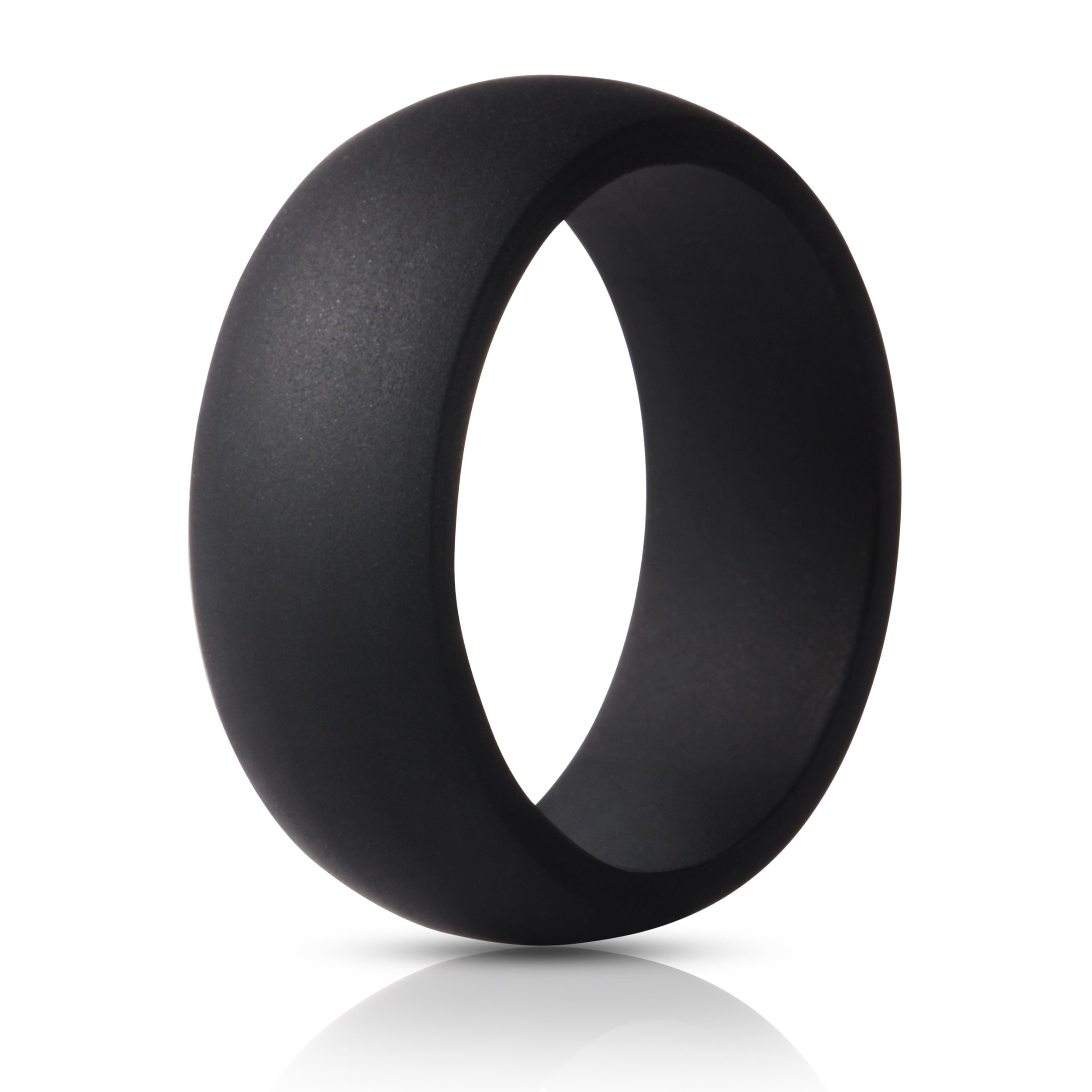 ThunderFit Silicone Ring Wedding Band for Men - 1 Ring (Black, 7.5-8 (18.2mm))