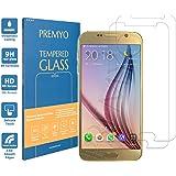 PREMYO [2 Pièces] verre trempé Samsung S6. Film protection Samsung Galaxy S6 avec un degré de dureté de 9H et des angles arrondis 2,5D. Protection écran S6
