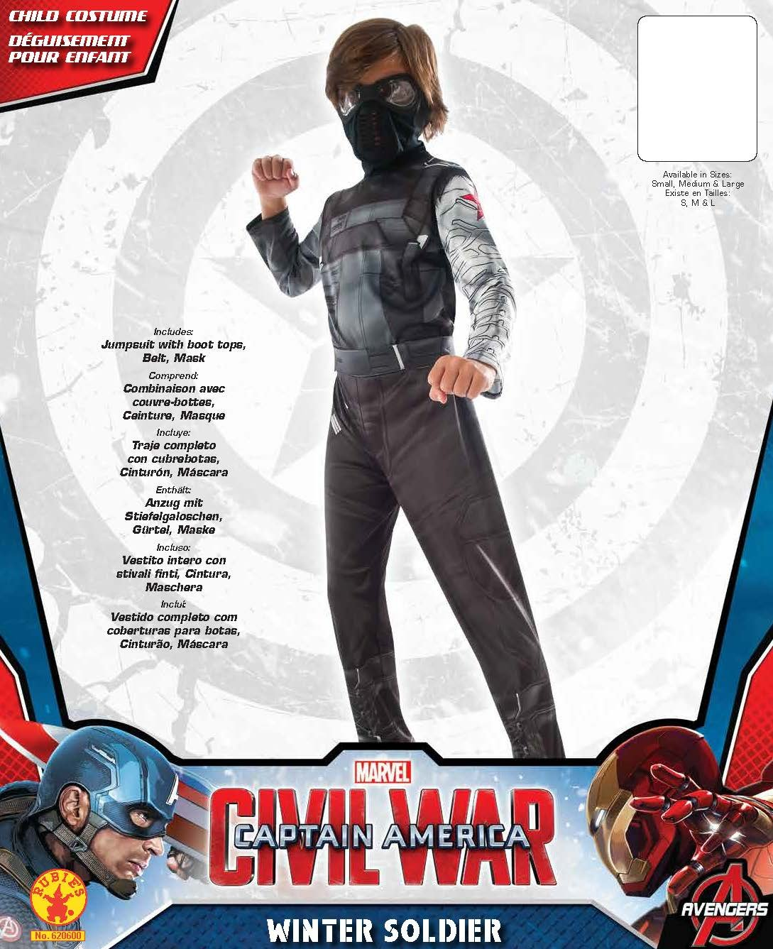 Rubies Costume Captain America: Civil War Winter Soldier Child Costume, Small