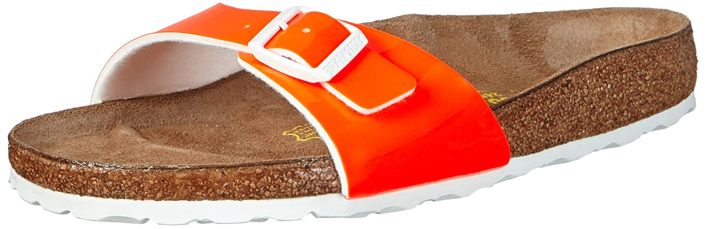 BIRKENSTOCK Classic Madrid Birko-Flor, Damen Pantoletten, Orange (Neon Orange Lack), 37 EU