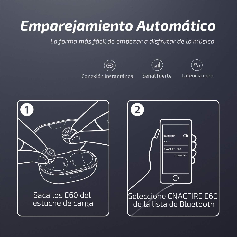 Bajos Profundos Apt-X Auriculares Deportivos Bluetooth de Nivel IPX8 8 Horas de reproducci/ón Permanente Auriculares inal/ámbricos Bluetooth ENACFIRE E60 V5.0 Doble micr/ófonos incorporados