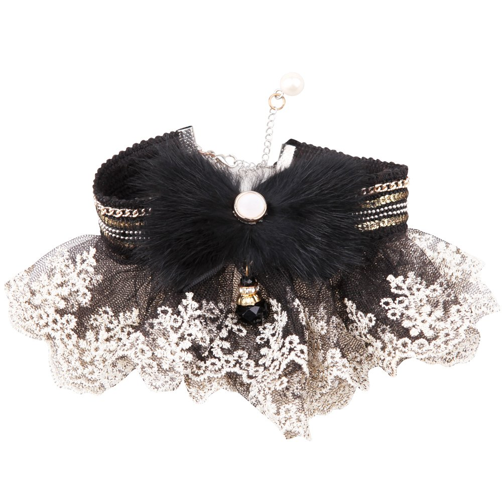 Opawz A006-3 Lace Collar Black with Butterfly, Medium, 11.8-Inchx13.3-Inch (30-34 Centimeter)