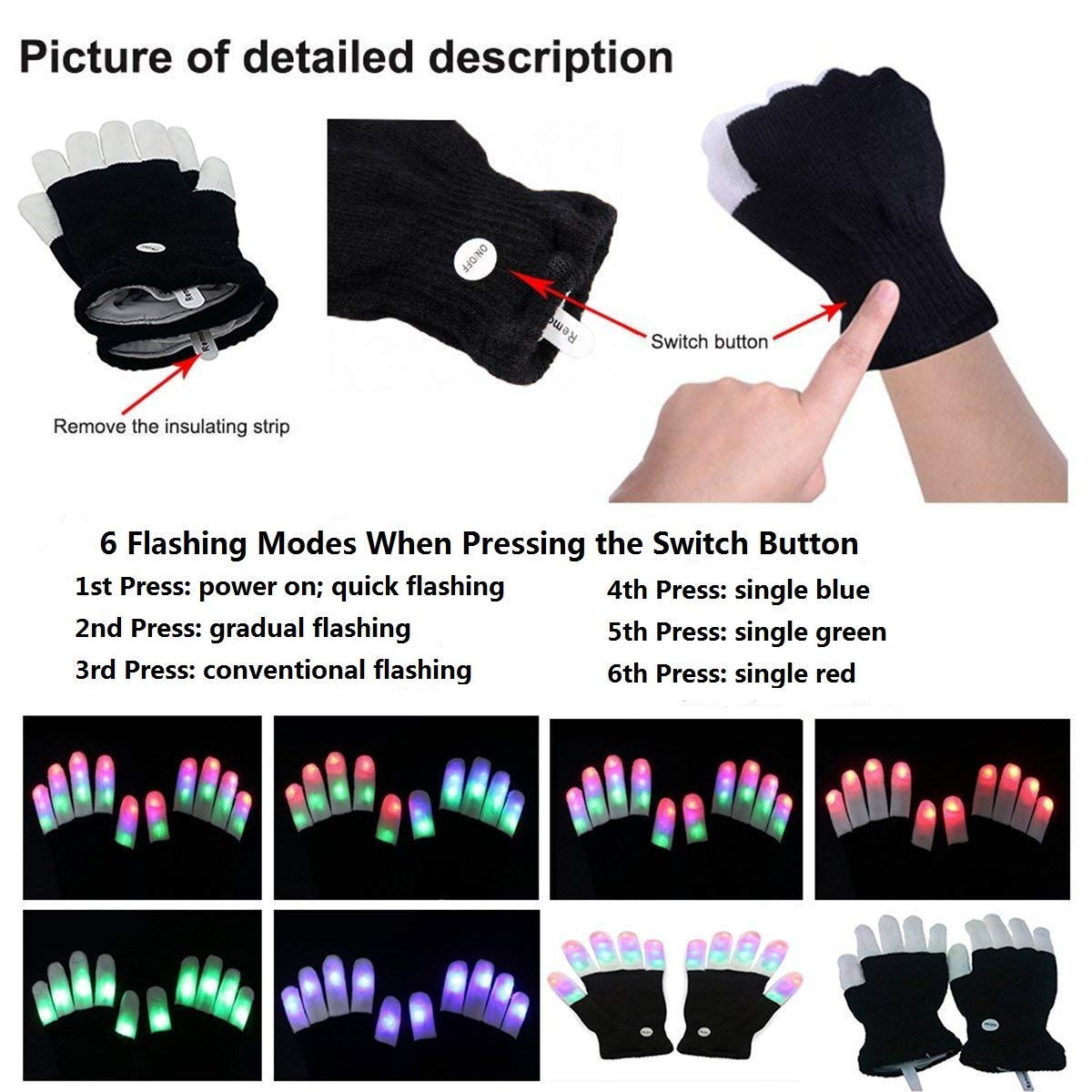 LED Gloves, Light Up Hand Gloves, Flashing Fingers Colourful Rave Gloves 6 Modes Glow for Festivals/ Halloween/ Christmas/ Bonfire Night/ Party/ Games/ Running/ Sports/Gift, Fits Big Kid & Adult Hands