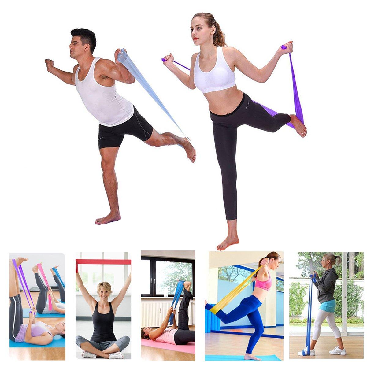 ... juego de 3 bandas elásticas para ejercicio, gimnasio, gimnasio, gimnasio, entrenamiento de fuerza, terapia física, yoga, pilates, ejercicios de silla: ...