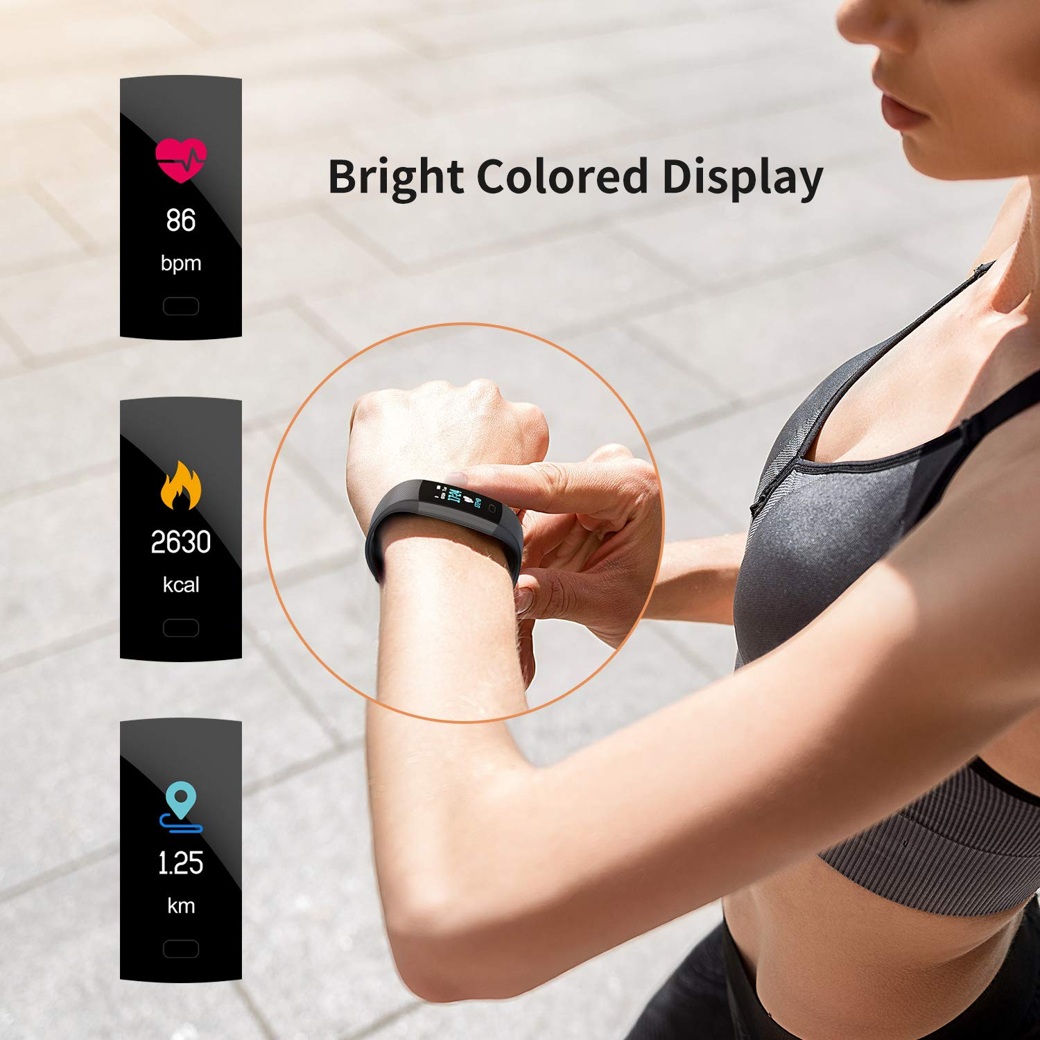 Fitness Tracker HR, Y1 Activity Tracker Watch with Heart Rate Monitor, Pedometer IP67 Waterproof Sleep Monitor Step Counter for Android & iPhone (Midnight Black) by Akuti (Image #6)