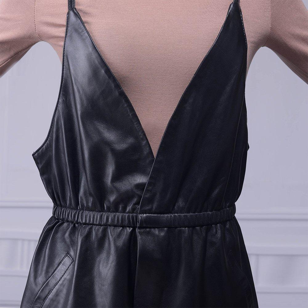 Jiashibao Women Pure Sheep Leather Short Jumpsuits V-Neck Elastic Waist Wide Legs Black Shorts Overalls (XL) by Jiashibao (Image #5)