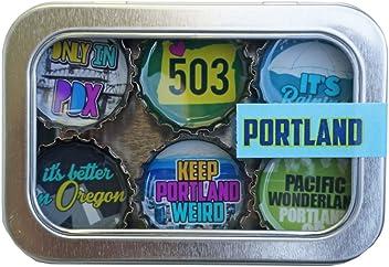 Kate Grenier Designs Portland (PDX) Bottle Cap Magnets