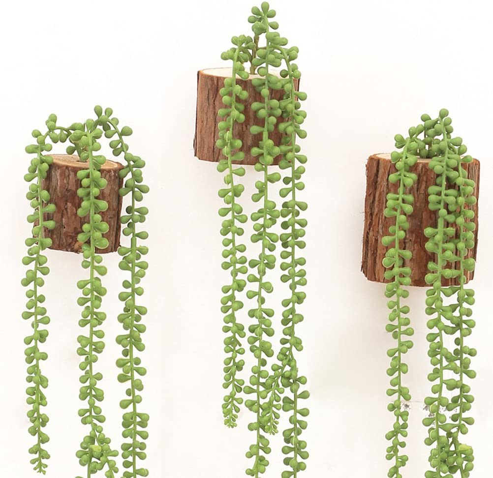 2x Artificial Wall Hanging String of Pearls Plants Fake Succulents Flower
