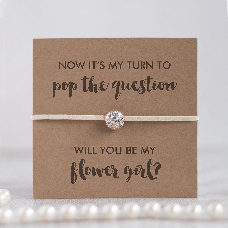 Flower girl proposal bracelet ivory will you be my flower girl proposal asking flower girl gifts
