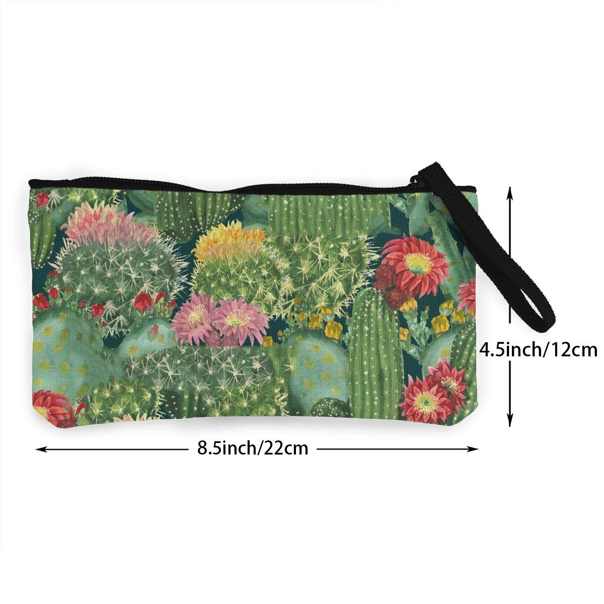 Tropical Cactus Flowers Pattern Canvas Change Coin Purse Small Cute Wallet Bag With Zip