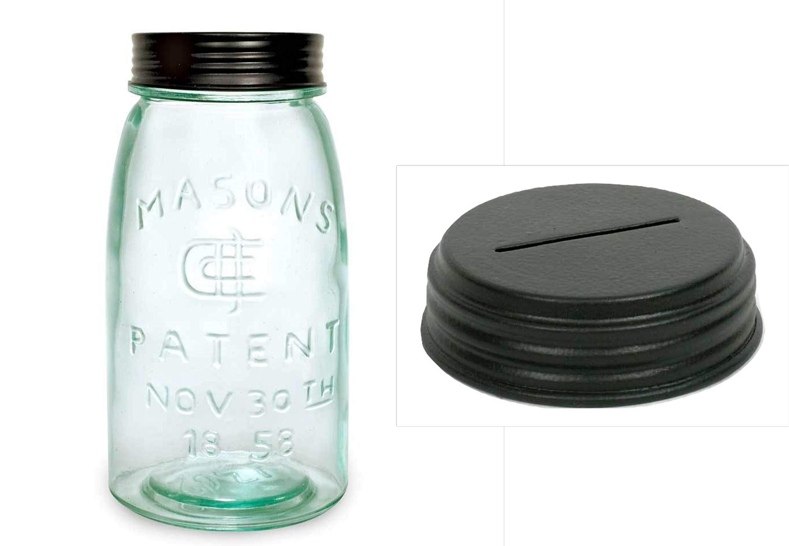 1 Quart Green Glass, Masons Jar Patented 1858 w/Slotted Piggy Bank Lid, 32 oz