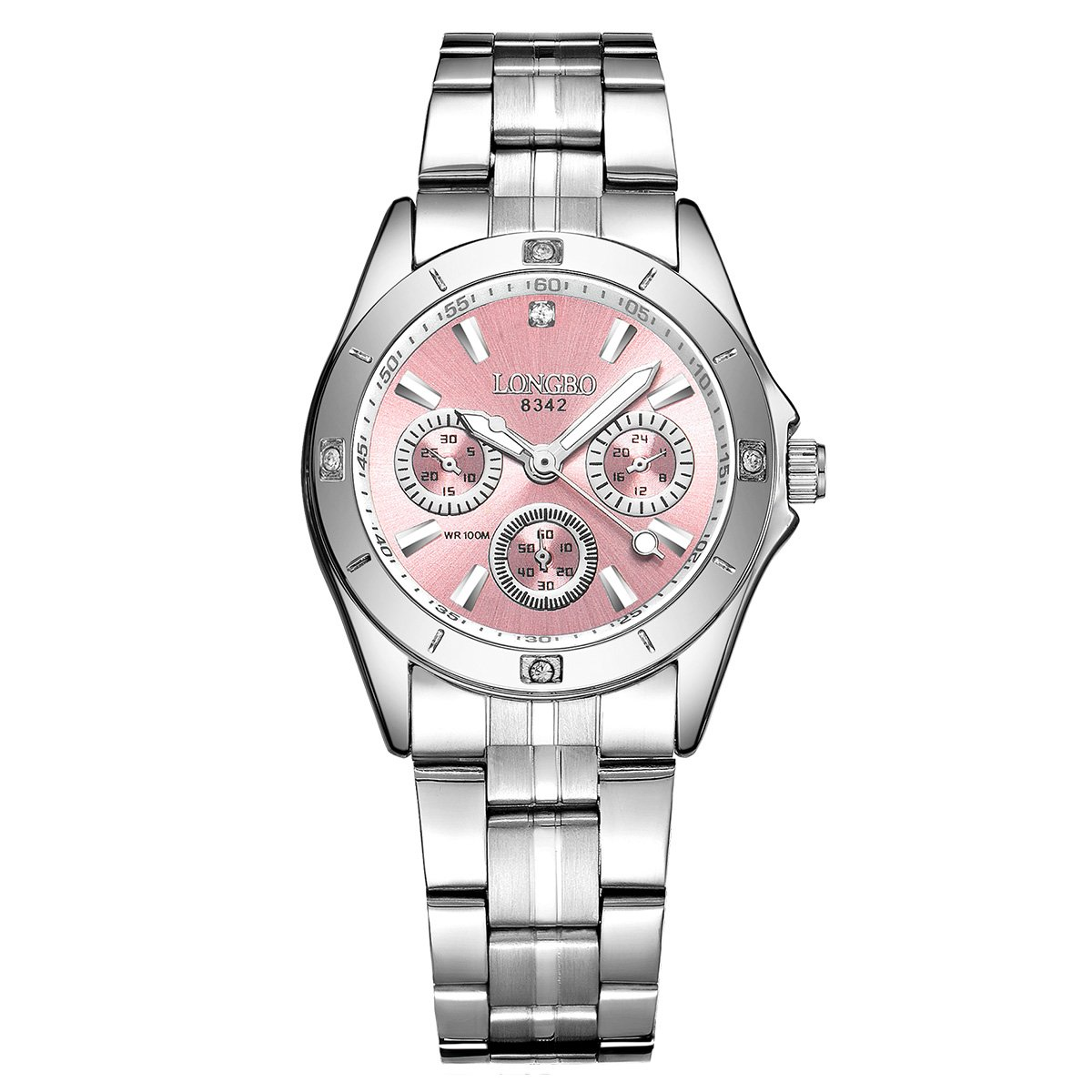 LONGBO Unique Waterproof Womens Analog Quartz Boyfriend Watch Stainless Steel Band Decorative Chrono Eyes Ladies Business Watches Luminous Hands Pink Dial Rhinestone Bracelet Wristwatch ¡­