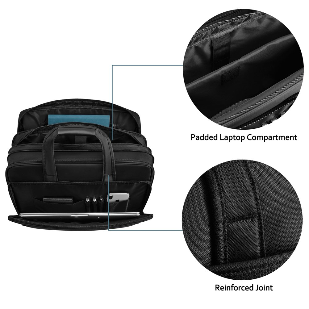 KOPACK Expandable Laptop Briefcase 17 17.3 Inch Large Business Water Resistant Shoulder Computer Bags Black by kopack (Image #4)