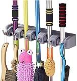 RYLAN Mop and Broom Holder, Multipurpose Wall Mounted Magic Holder Broom & Mop Organizer Storage Hooks, Ideal Broom Hanger for Kitchen Garden, (mop Holder and Broom Holder)(Grey)