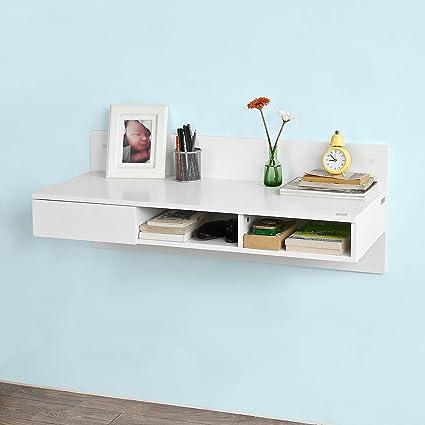SoBuy Tavolo da muro,Mensola a parete,scrivania,con casetto,bianco ...