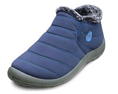 SITAILE Herren Damen Outdoor Knöchelhoch Slip On Komfort Boots Stiefel für Winter,Blau,39