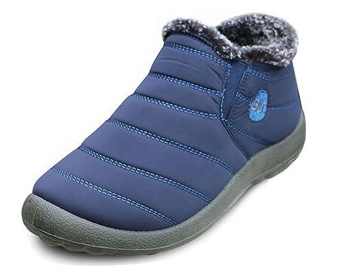 Minetom Hombre Mujer Alta Botines Otoño Invierno Plano Botines Calentar Botas De Nieve Zapatos Deportes al aire libre Boots