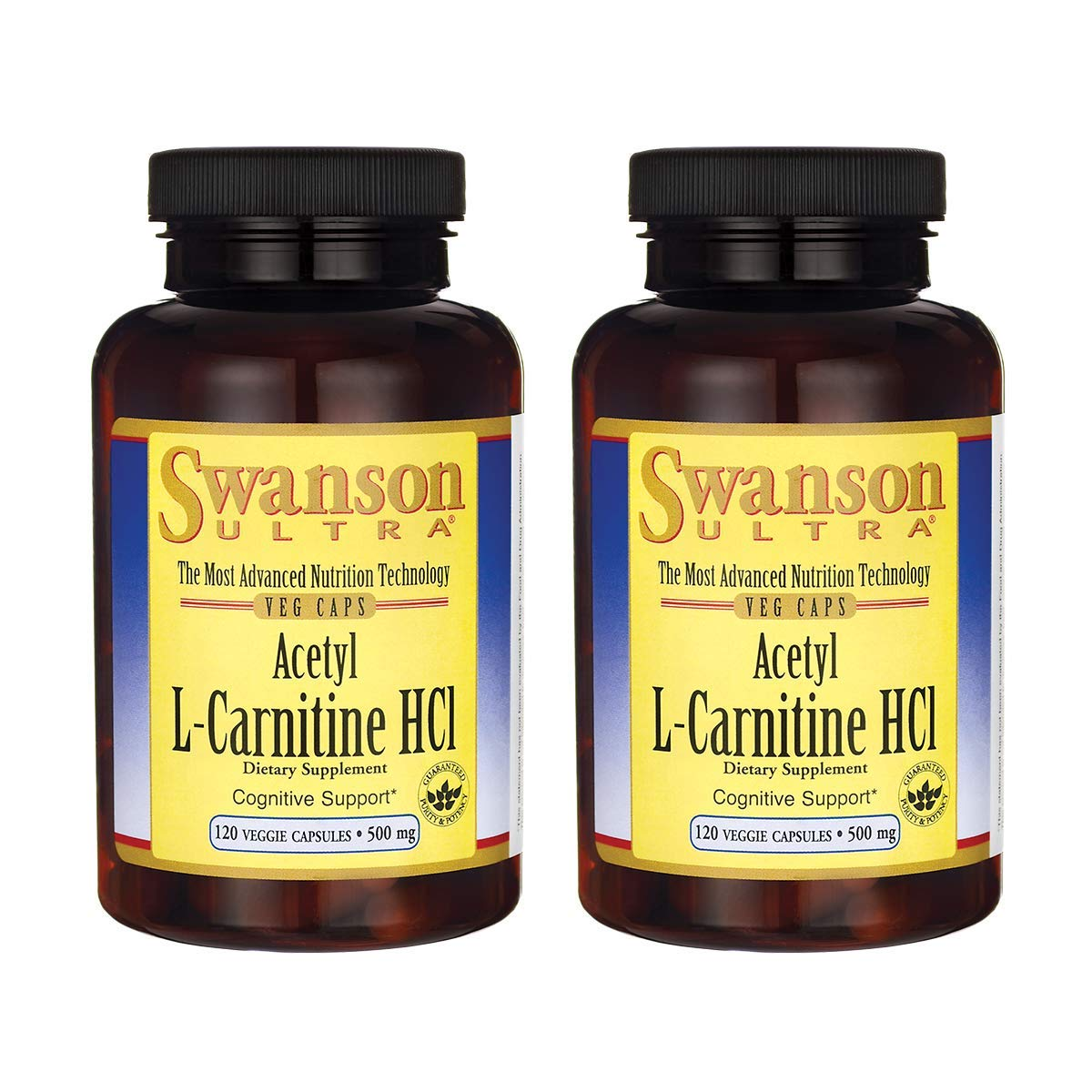 Swanson Amino Acid Acetyl L-Carnitine Hcl 500 Milligrams 120 Veg Capsules (2 Pack)