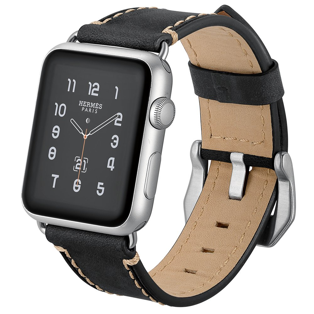WeWin Top Grain Leather Compatible with Apple Watch Band 42mm Womens Mens Strap Classic Simple Wristbands Leisure with Silver Adapter Compatible with Apple Watch Series 3 2 1 (42mm) (42MM)