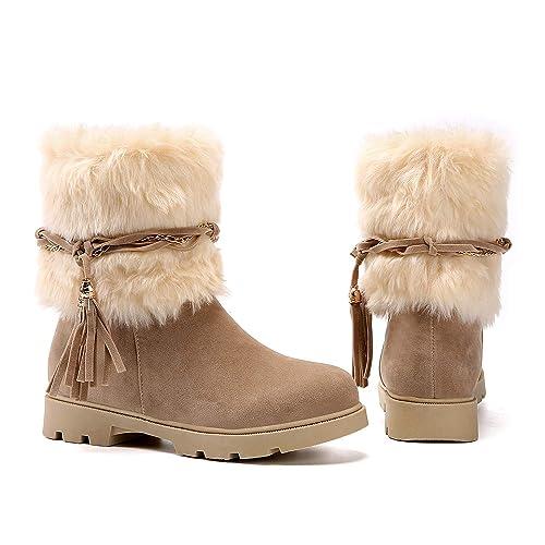 Susanny Womens Winter Fashion Warm Short Booties Casual Outdoor Suede Flat Heel Waterproof Faux Fur Beige