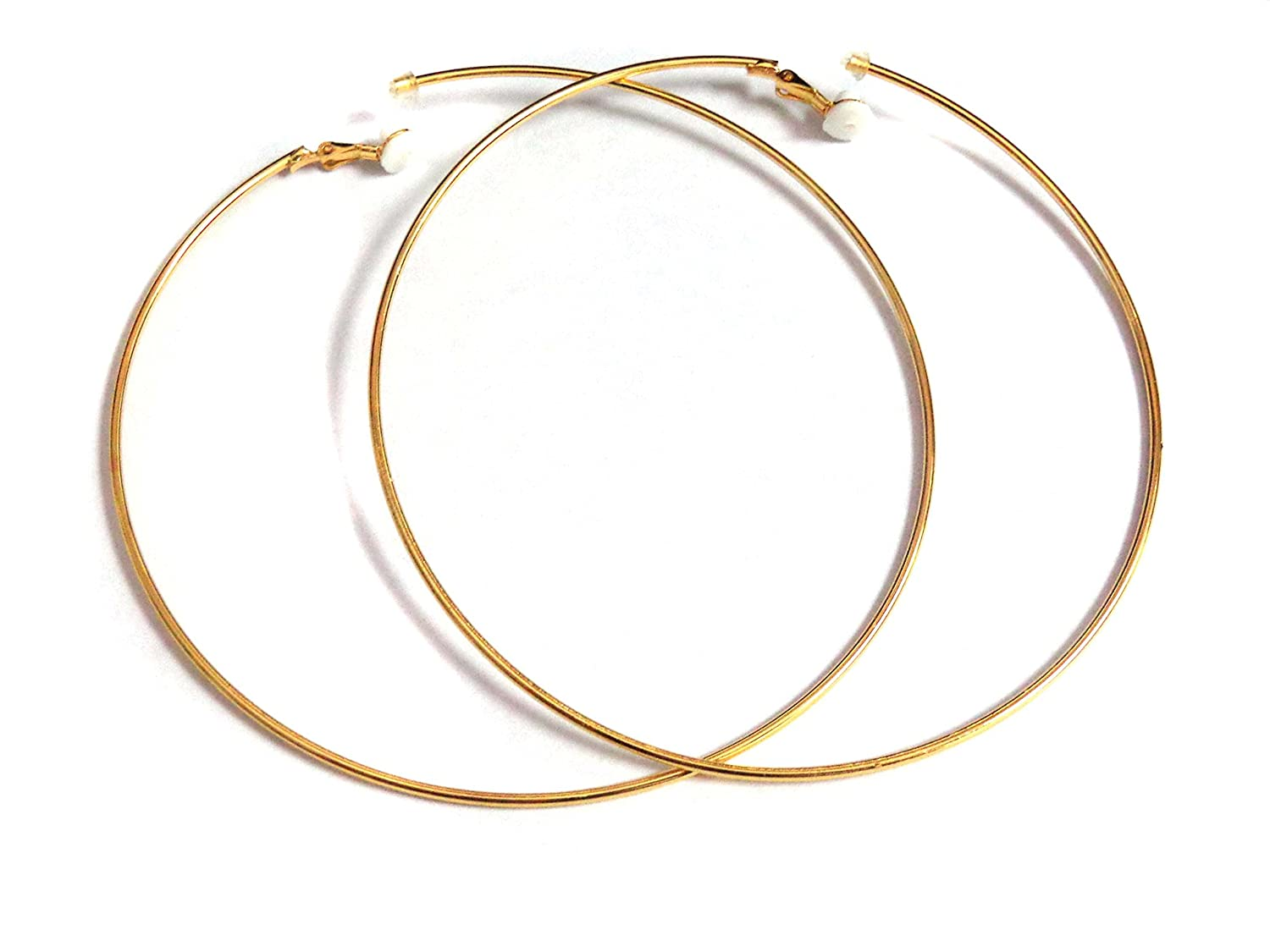 Clip-on Earrings Extra Large 4 inch Hoop Earrings Gold or Silver Tone Hoop Earrings 100mm NA
