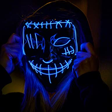 Led Light Up Glowing Scary Mask with EL Wire for Kids Adults Costume Cosplay Halloween Purge Mask