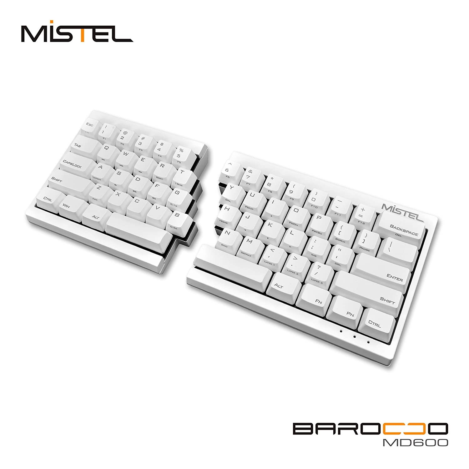 757e47bc8c5 Amazon.com: Mistel Barocco Ergonomic Split PBT Mechanical Keyboard with Cherry  MX Blue Switches, White: Computers & Accessories