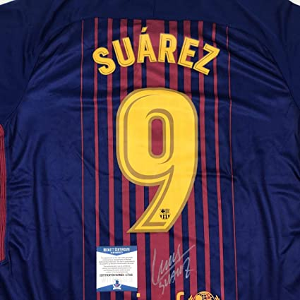 cc26cb297 Image Unavailable. Image not available for. Color  Autographed Signed Luis  Suarez FC Barcelona Red Blue Soccer ...