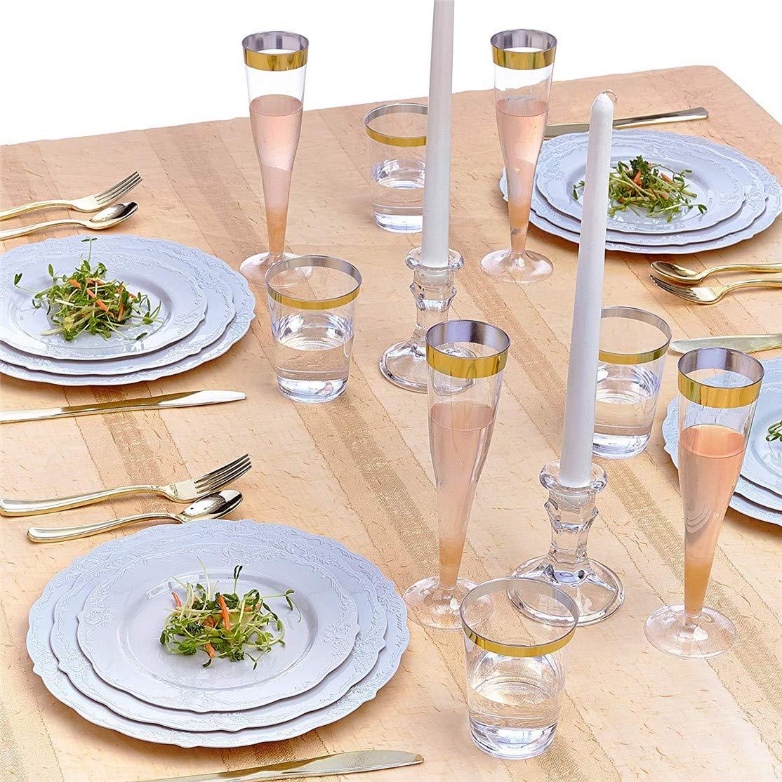 Juego de vajilla desechable (30 piezas), 10 platos de cena, 10 platos de ensalada, 10 platos de postre, platos de plástico pesados, platos finos de ...