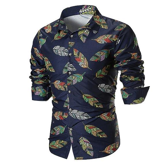 OHQ_Camisa Hombre Blusa OtoñO Moda 2018 Personalidad Verano Casual Manga Larga Camisa Estampada Top Pantalones Chaleco Ropa Interior Tapas Camisas Polo ...