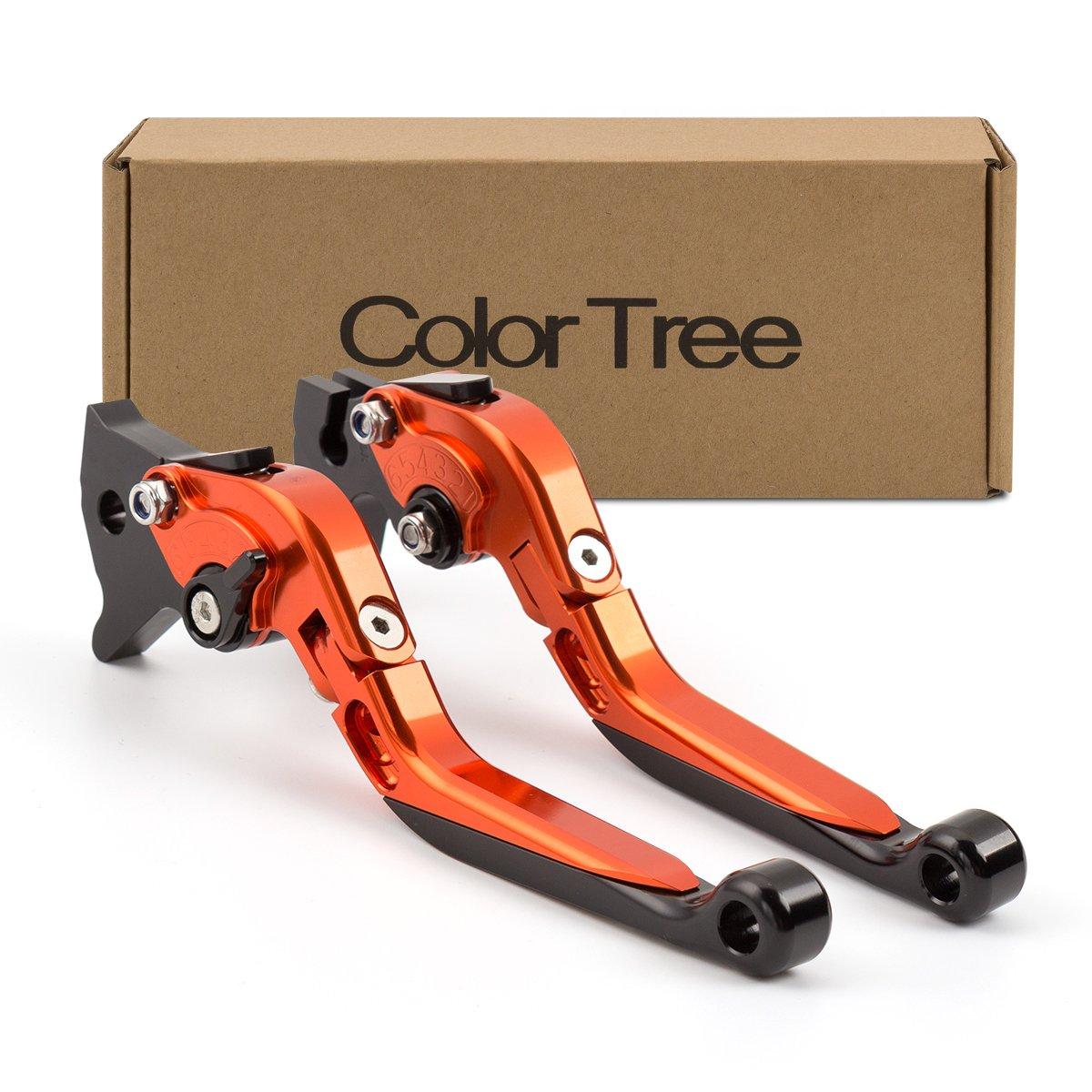 color tree Racing Adjustable CNC Folding Extending Brake Clutch Levers Pair Fit For KTM 390 Duke/RC390 2013-2017, 200 Duke/RC200 2014-2016,RC125/125 Duke 2014-2017 Orange&Black