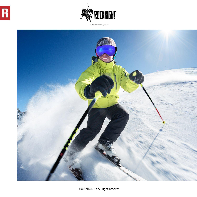 Frameless Dual Lenses Snowboard Over Glasses Goggles for Men Women /& Youth with UV400 Protection Anti-fogging Women /& Youth with UV400 Protection Anti-fogging White Frame Blue Lens ROCKNIGHT Ski Snow Goggles