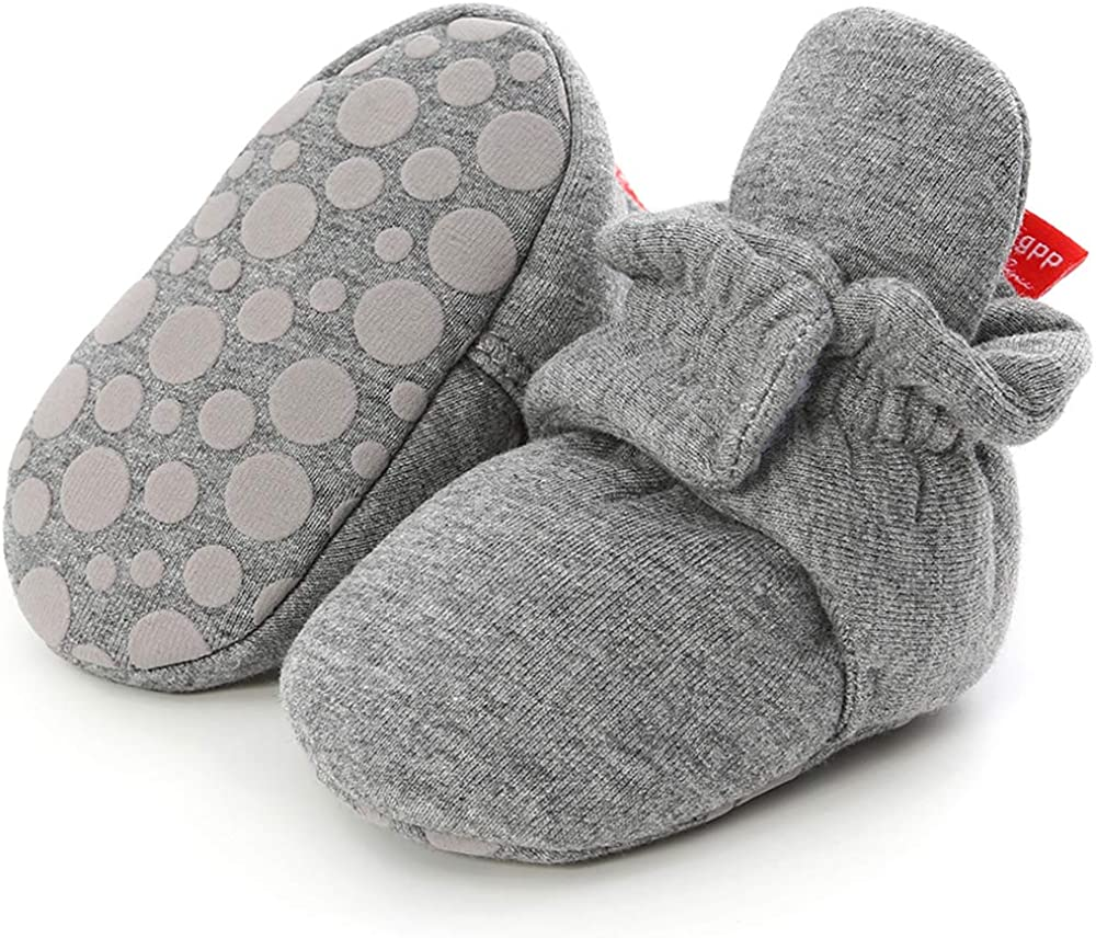 Babelvit Newborn Baby Boy Girl Soft Fleece Booties Stay On Infant Slippers Socks Shoe Non Skid Gripper Toddler First Walkers Winter Ankle Crib Shoes