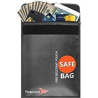 Feuerfeste Dokumententasche, T3MCO Feuerfeste und wasserfeste Geldtasche, schützt Ihre Dokumente, Geld, Schmuck, Reisepass, Wertgegenstände, Velctro und Reißverschluss für besten Schutz, schwarz