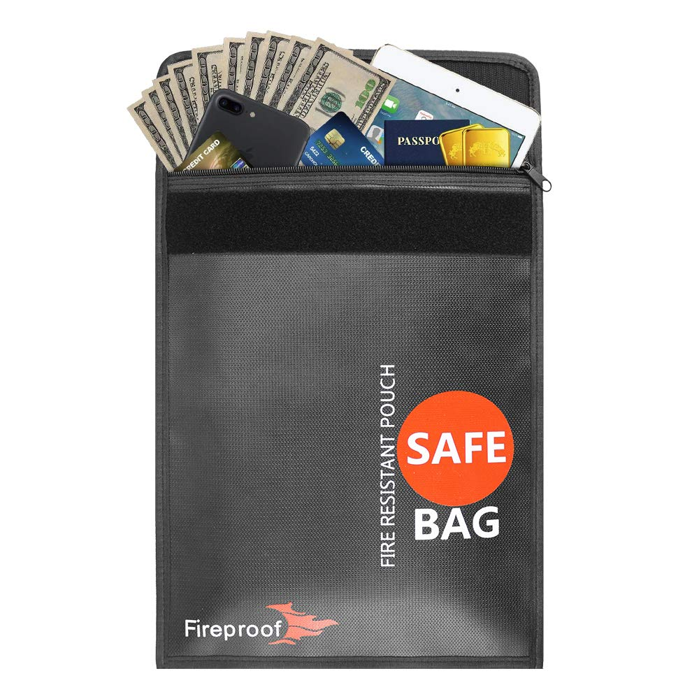 Fireproof Document Bag, T3MCO Fire & Water Fire Resistant Money Bag, Protect Your Documents, Money, Jewellery, Passport, Valuable Items, Velcro and Zip Closure for Best Protection (15' x 11', Black) Velcro and Zip Closure for Best Protection (15 x 11