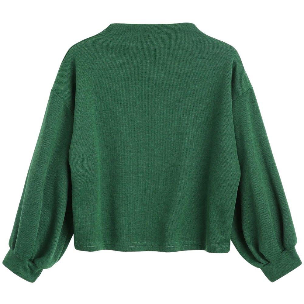 ZAFUL Damen Lantern Sleeve Badge Patched Rundhalsausschnitt Langarm Lose Bluse Strickpulli Hemd Shirt Sweatshirt Tops MY-DE-225861209