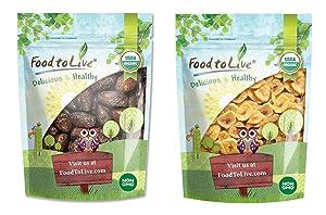 Organic Sweet Fruits Bundle - Organic Medjool Dates, 1 Pound and Organic Banana Chips, 1 Pound - Non-GMO, Kosher, Raw, Vegan