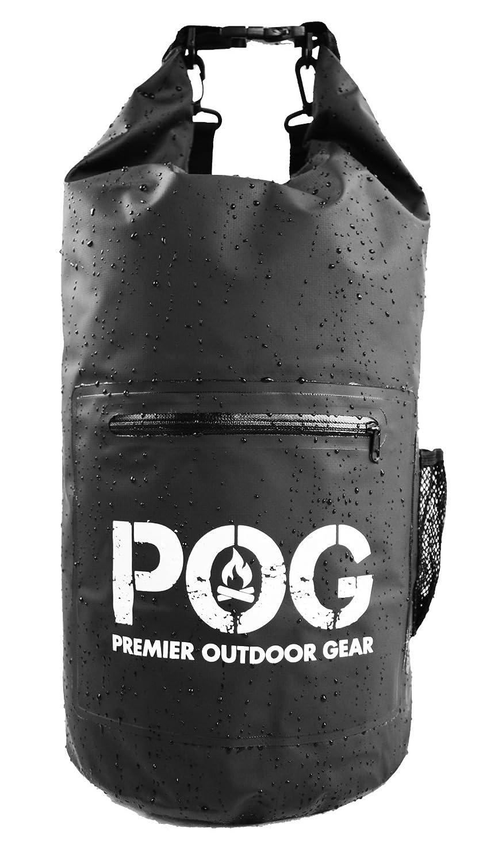 POG 防水ドライバッグ -バックパック - 前部にファスナー付きポケット -高品質高耐久 -パッド付き肩ストラップ&メッシュのサイドポケット B071XY3GMZ  ブラック 10 Liter
